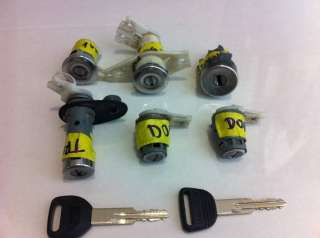 DEL SOL COMPLETE KEY LOCK CYLINDER SET DOOR TRUNK IGNITION GLOVE GAS