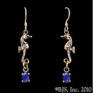 Seahorse Earrings with Gem, 14k Yellow Gold, Lapis Lazuli set gemstone