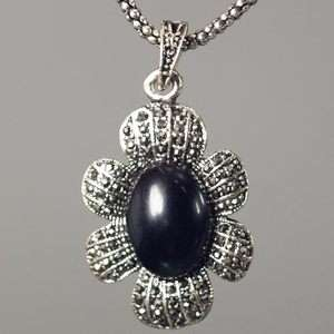 Oval Tibet Silver Black Gemstone Pendant Necklace Cute Jewelry