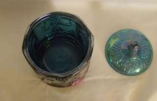 Indiana Blue Harvest Carnival Glass Canister Covered Jar