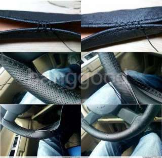 DIY Tan Genuine Leather Steering Wheel Cover With Hole Size M