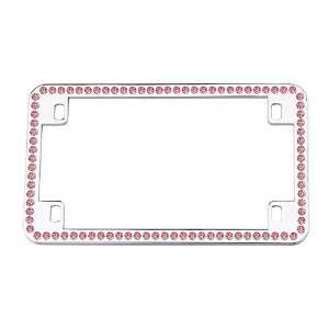 Rhinestone Pink Motorcycle Bike Chrome License Plate Frame Automotive