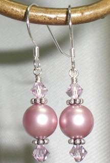 Burgundy Amethyst Crystal Pearl Wedding Bridesmaid Earrings Many Color