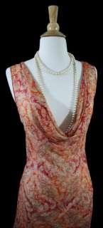 FABULOUS VTG STYLE 20s 30s 40s art deco printed sheer bias silk dress