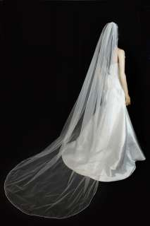 1T White Cathedral Beaded Pencil Edge Wedding Bridal Veil