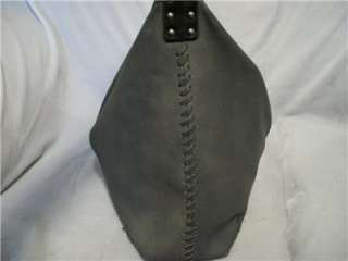 LUCKY BRAND Gray & Black Leather Hobo Handbag Bag