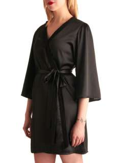 Elegance at Its Best Robe in Black   Black, Solid, Lace, Trim, Wrap, 3