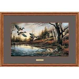 Terry Redlin   Backwoods Cabin Oak Framed Elite Edition