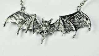 SILVER GOTHIC VAMPIRE BAT NECKLACE DEATHROCK ROCKABILLY DRACULA