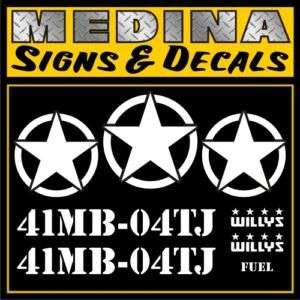 Jeep Decal Kit / US Army WW2 Decals / Stickers Wrangler JK TJ YJ CJ