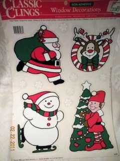 VINTAGE WINDOW CLING DECORATIONS CHRISTMAS SANTA