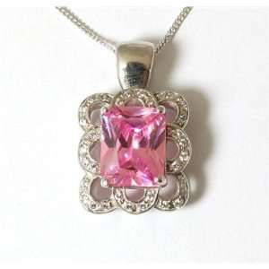 9ct White Gold Pink CZ Fancy Pendant on 18 Chain Jewelry