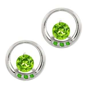 Genuine Round Green Peridot Gemstone Sterling Silver Earrings Jewelry