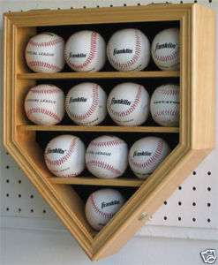 12 MLB Baseball Display Case Cabinet  Lock 98% UV Protection Doo  Oak
