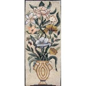 16x44 Flower Mosaic Art Tile Mural Wall Decor