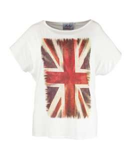 Cream (Cream) Rubys Closet White Union Jack T Shirt  255730413  New