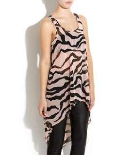 Pink Pattern (Pink) Zebra Print Dip Hem Racer Back Top  254623479