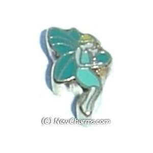 Fairy Holding Green Orb Floating Locket Charm Jewelry