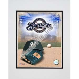 Milwaukee Brewers 2005 Logo / Cap and Glove Double Matted 8 X 10