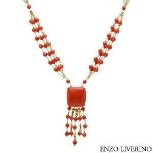 Gold Corals Ladies Necklace. Length 23 in. Total Item weight 72.6 g