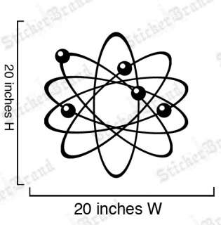 Vinyl Wall Decal Sticker Science Physics Atom 20x20