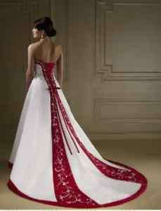 Stock Sweetheart White and Red Ball Gown Wedding Dress
