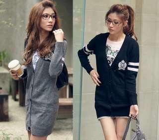 New Korea Womens Fashion Cardigan V neck Sweaters Long Top Mini Dress