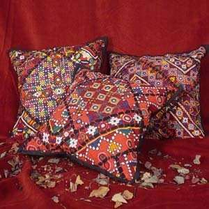 Kutch Embroidered Sofa Cushion Pillow Covers (Set of five)