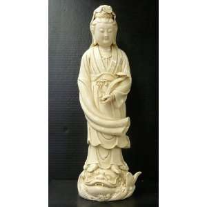 White Porcelain Standing Kwan Yin Statue Ass957 Home & Kitchen