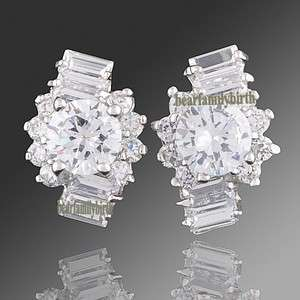 18k white gold GP SWAROVSKI crystal gorgeous earring studs E76