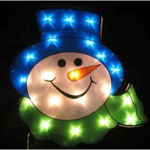 Snowman Face, 20 Lights, Outdoor Holiday Christmas Decoration Yard Art