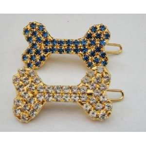 Bauer Swarovski Crystal Gold Hair Clips Bones 1.25 Wide