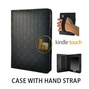 Textured Black Folio Case Cover w/ Hand Strap for  Kindle Touch