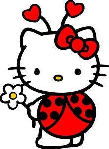 HELLO KITTY LADY BUG DECAL STICKER 10x12