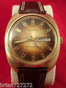 1970s CLINTON 17j AUTOMATIC DAY/DATE GOLD MENS WATCH