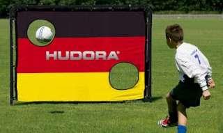 Hudora Fußballtor Match D mit Torwand in schwarz/rot/gold. Stabile
