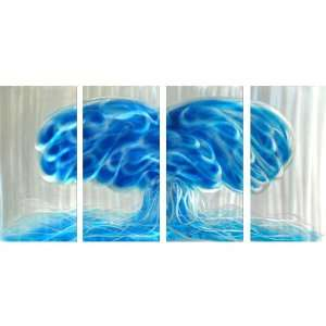 Abstract Metal Wall Art Set of Four Aluminum Panels: Home & Kitchen