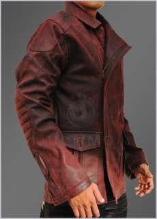 Del Spooner Smith Vintage Red Distressed Mens Leather Jacket