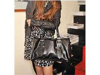 Fashion Womans Black PU Leather Handbag Removable Strap Shoulder Bag