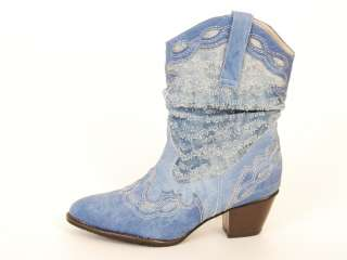SPM 329038 Women Shoes Western Cowboy Style Heels Boots Blues US