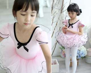 Girsl Party Pink Leotard Ballet TuTu Skate Fairy Dance Skirt Costume