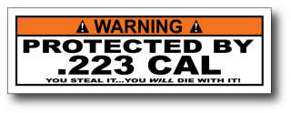 Protected By 223 CAL AR 15 Sticker Decal M4 Gun Case