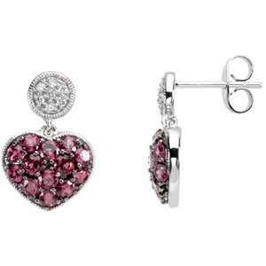 Brazilian Garnet & Diamond Dangle Earrings FreshTrends