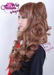 LOLITA Long Curly Mixed Brown Basic Cosplay Hair Wig + 2 X Ponytails
