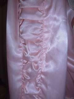 Vtg 30s 40s Victorian Pink High Gloss Liquid Satin Robe Tambour French