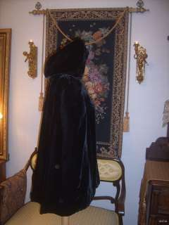 Antique 1800s Victorian Edwardian Black Velvet Hooded Cape Coat Satin