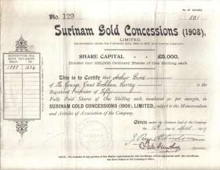 Suriname Bond 1909 Surinam Gold Concessions (1908) 50 shares