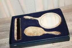 Boxed Silverplate Vanity Dresser Set Brush Comb Hand Mirror NEVER USED