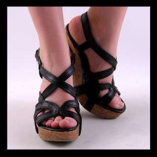NEW WOMENS BLACK STRAPPY HIGH HEEL WEDGE ANKLE STRAP SANDAL