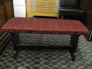 Hand Crafted Red Floral Gold Setting Bench Living Room Bed Room